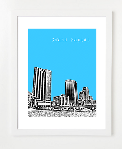 Grand Rapids Michigan Skyline Art Print and Poster | By BirdAve Posters