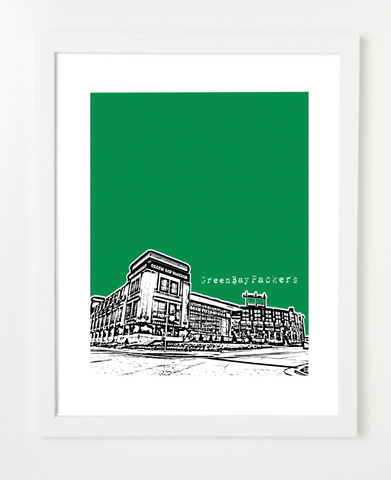 Green Bay Packers Lambeau Field Wisconsin Skyline Art Print and Poster | By BirdAve Posters