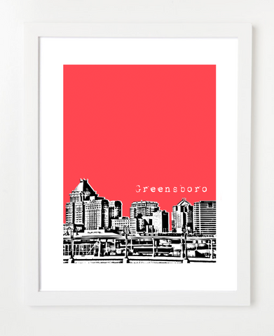 Greensboro North Carolina Skyline Art Print and Poster | By BirdAve Posters
