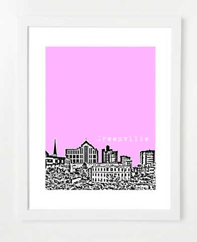 Greenville South Carolina Downtown Skyline Art Print and Poster | By BirdAve Posters