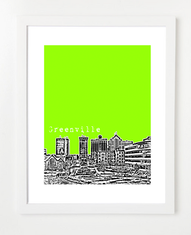 Greenville South Carolina Skyline Art Print and Poster | By BirdAve Posters