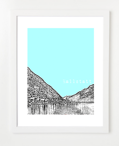 Hallstatt Austria Europe Posters and Skyline Art Prints | By BirdAve