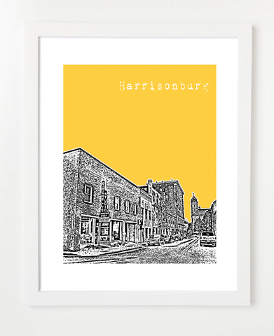 Harrisonburg Virginia Skyline Art Print and Poster | By BirdAve Posters