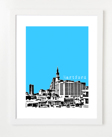 Hartford Connecticut USA Skyline Art Print and Poster | By BirdAve Posters