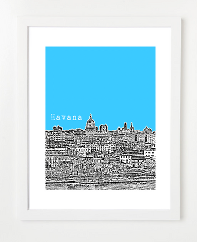 Havana Cuba Latin America VERSION 1 Posters and Skyline Art Prints | By BirdAve