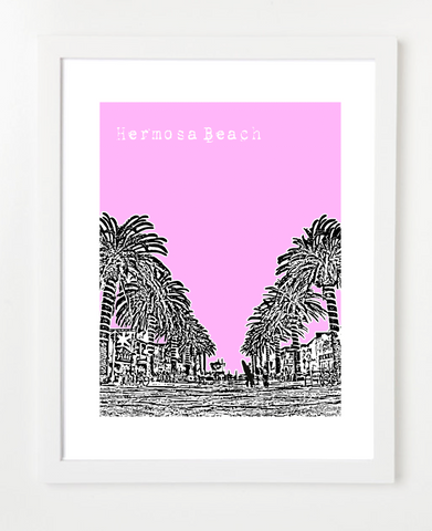 Hermosa Beach California USA Skyline Art Print and Poster | By BirdAve Posters