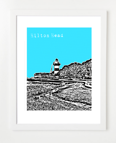 Hilton Head South Carolina Skyline Art Print and Poster | By BirdAve Posters
