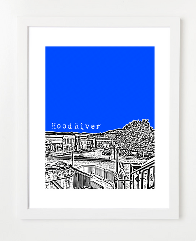 Hood River Oregon Skyline Art Print and Poster | By BirdAve Posters