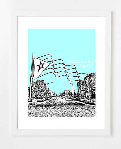 Humboldt Park Chicago USA Skyline Art Print and Poster | By BirdAve Posters