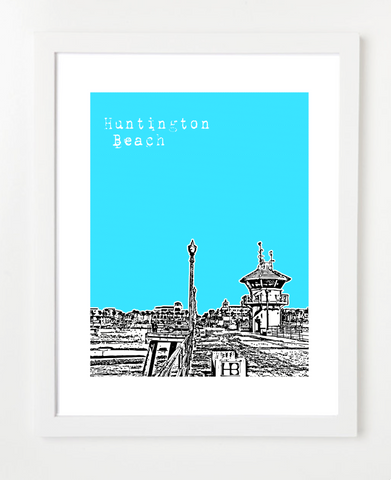 Huntington Beach California USA Skyline Art Print and Poster | By BirdAve Posters