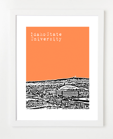 Pocatello Idaho Idaho State University Bengals    Skyline Art Print and Poster | By BirdAve Posters