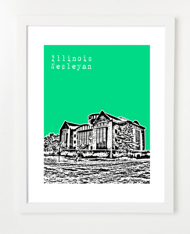 Bloomington Illinois Poster Illinois Wesleyan University Skyline Art Print and Poster | By BirdAve Posters