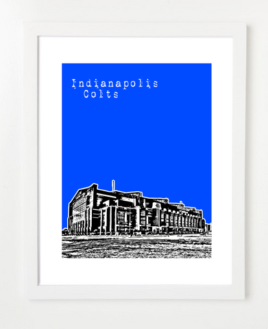 Indianapolis Colts Lucas Oil Stadium Skyline Art Print and Poster | By BirdAve Posters
