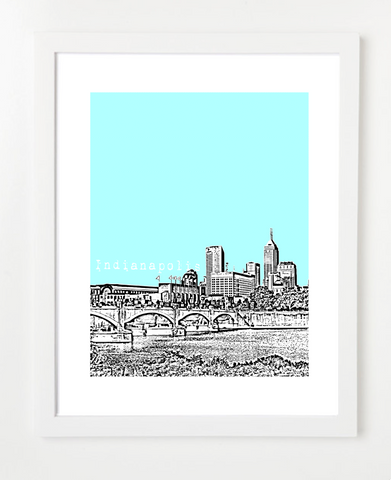 Indianapolis Indiana Skyline Art Print and Poster | By BirdAve Posters