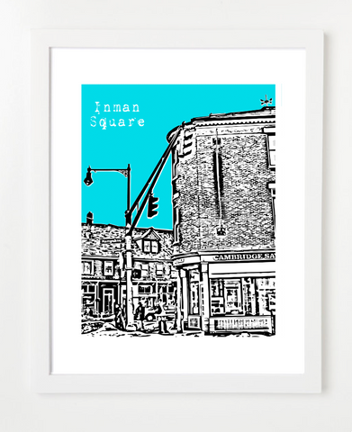 Cambridge Massachusetts Inman Square Skyline Art Print and Poster | By BirdAve Posters
