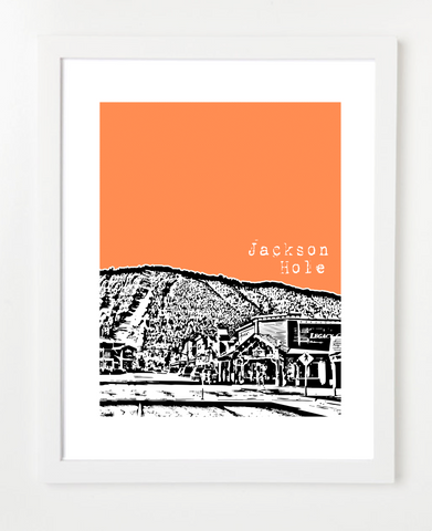 Jackson Hole Wyoming Skyline Art Print and Poster | By BirdAve Posters