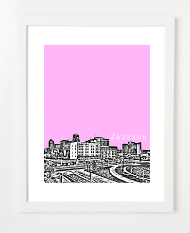 Jackson Mississippi Skyline Art Print and Poster | By BirdAve Posters