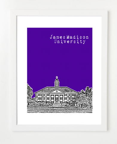Harrisonburg Virginia James Madison University Skyline Art Print and Poster | By BirdAve Posters