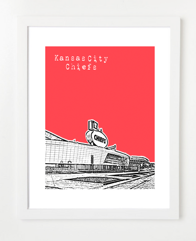 Kansas City Chiefs Arrowhead Stadium  Skyline Art Print and Poster | By BirdAve Posters