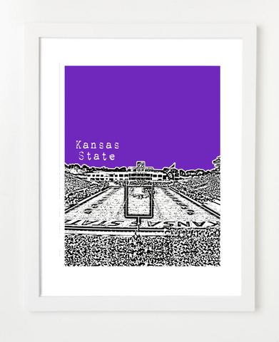 Kansas State University Wildcats Bill Snyder Family Stadium Skyline Art Print and Poster | By BirdAve Posters