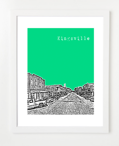 Kingsville Texas Skyline Art Print and Poster | By BirdAve Posters