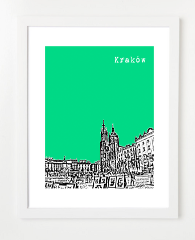 Krakow Poland Europe Posters and Skyline Art Prints | By BirdAve