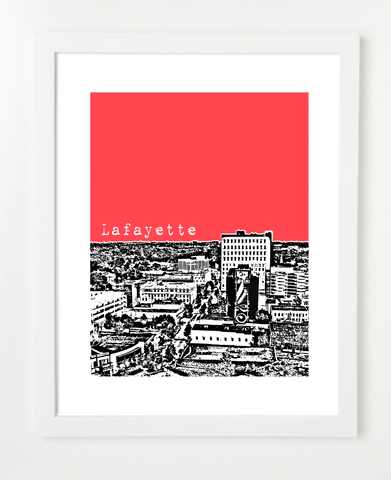 Lafayette Louisiana Skyline Art Print and Poster | By BirdAve Posters