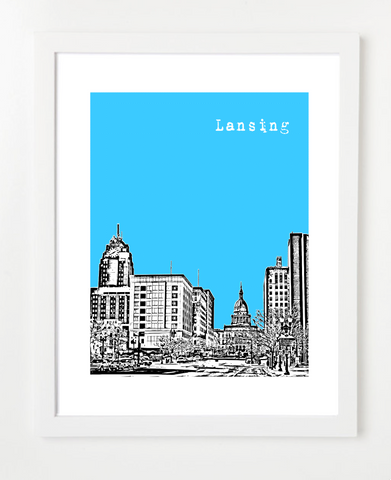 Lansing Michigan Skyline Art Print and Poster | By BirdAve Posters