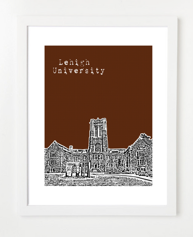 Bethlehem Pennsylvania Lehigh University Skyline Art Print and Poster | By BirdAve Posters