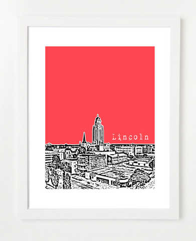 Lincoln Nebraska University of Nebraska Skyline Art Print and Poster | By BirdAve Posters