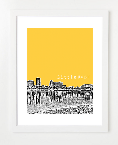 Little Rock Arkansas USA Skyline Art Print and Poster | By BirdAve Posters