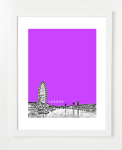 London Eye England Europe VERSION 2 Posters and Skyline Art Prints | By BirdAve