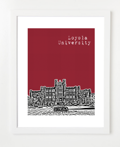 New Orleans Loyola University Skyline Art Print and Poster | By BirdAve Posters