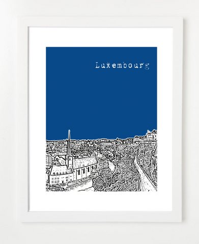 Luxembourg City Europe Posters and Skyline Art Prints | By BirdAve