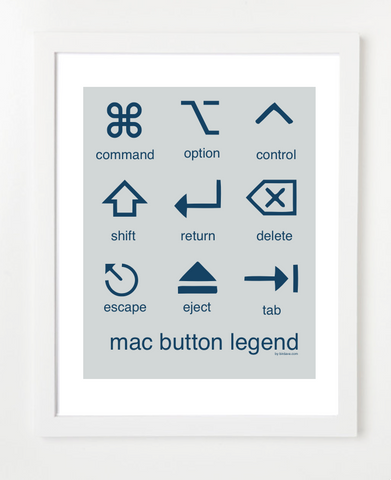 Mac Button Legend Gray & Blue Posters and Skyline Art Prints | By BirdAve