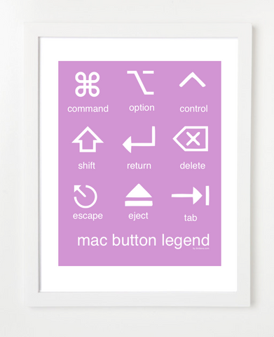 Mac Button Legend Purple Posters and Skyline Art Prints | By BirdAve
