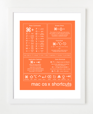 Mac Shortcuts Orange Posters and Skyline Art Prints | By BirdAve