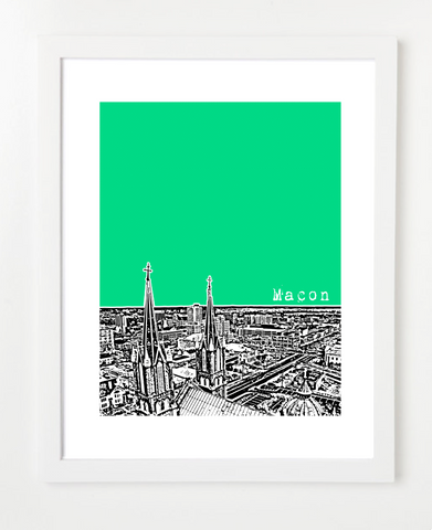 Macon Georgia Skyline Art Print and Poster | By BirdAve Posters