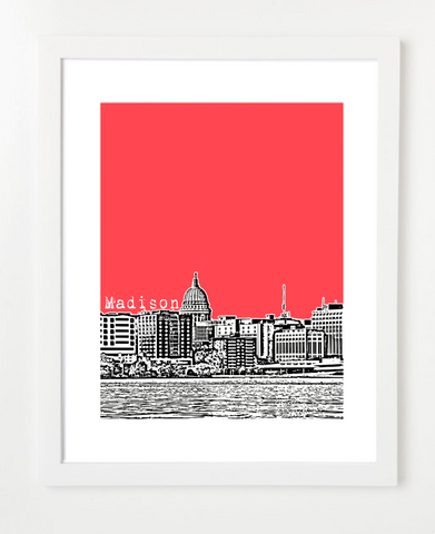 Madison Wisconsin Skyline Art Print and Poster | By BirdAve Posters