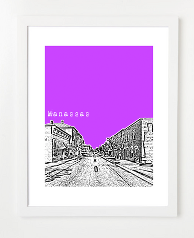 Manassas Virginia Skyline Art Print and Poster | By BirdAve Posters