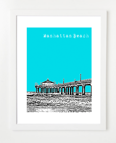 Manhattan Beach California USA Skyline Art Print and Poster | By BirdAve Posters
