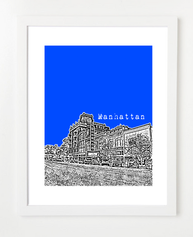 Manhattan Kansas Kansas State University Skyline Art Print and Poster | By BirdAve Posters