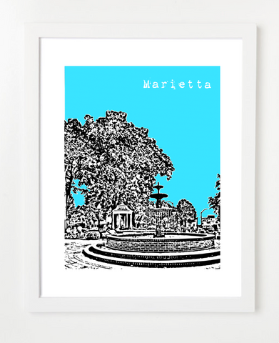 Marietta Georgia Skyline Art Print and Poster | By BirdAve Posters