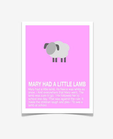 Children's Art - Mary Had A Little Lamb - Nursery Rhyme Poster -