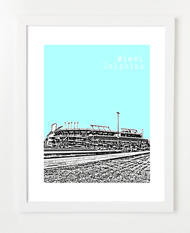 Miami Dolphins Sun Life Stadium  Skyline Art Print and Poster | By BirdAve Posters
