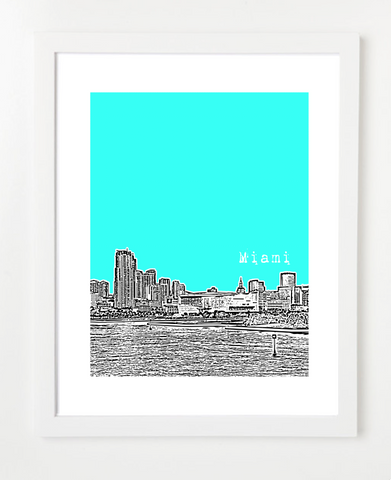 Miami Florida VERSION 1 Skyline Art Print and Poster | By BirdAve Posters