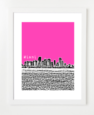 Miami Florida Skyline Art Print and Poster | By BirdAve Posters