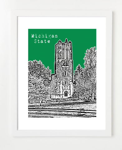 East Lansing Michigan MSU Beaumont Tower Skyline Art Print and Poster | By BirdAve Posters