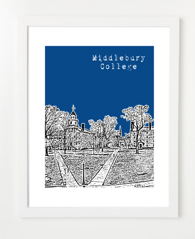 Middlebury College Vermont Skyline Art Print and Poster | By BirdAve Posters