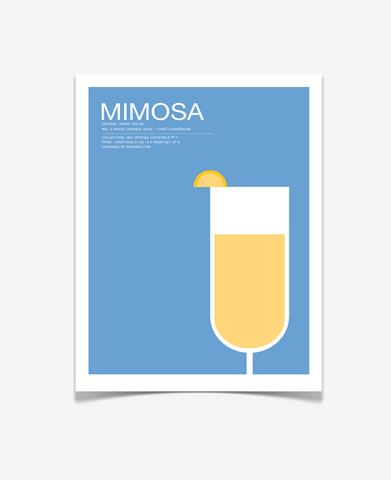 Mimosa Cocktail Art Print - Signature Cocktail Wedding Poster - Kitchen Art-